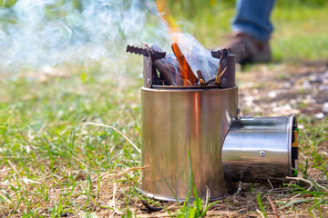 wood-made home-made mobile stove, light equipment