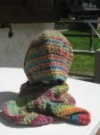 berretto, sciarpa, lana, uncinetto