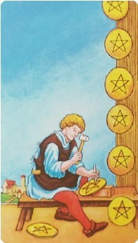 錢幣八 Eight of Pentacles