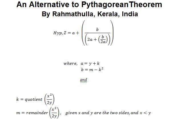 An Alternative to Pythagorean Theorem