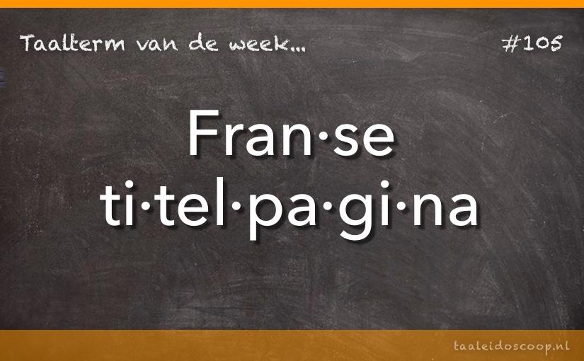 TVDW: Franse titelpagina
