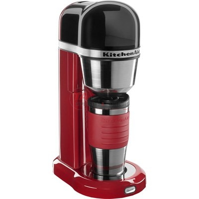 Kitchenaid 4-cup personal coffee maker, in contour silver, is designed for singles and couples in the space conscious home and for on-the-go lifestyles. The removable top-load water tank is easily accessible and has an integrated handle for easy filling from any angle. The vertical placement of the heating element provides hot water at a consistent temperature for superior extraction and better coffee taste. The coffee drips into a thermal mug for the assurance of warmth and freshness. Its unique dual-purpose lid design can be used as a travel mug or poured like a traditional carafe for either coffee on the go or coffee at home. http://www.taappliance.com/en/catalog/product/141083-KitchenAid-KCM0402ER?searchterm=Red