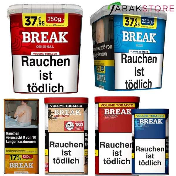 Break Produktbild mit allen Sorten und größen
