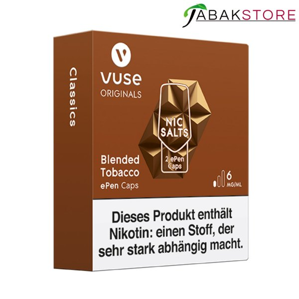 Vuse-ePen-3-Caps-Blended-Tobacco-6-mg-links-seitlich