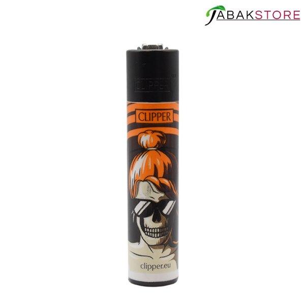 Skull-Orange-Clipper-Feuerzeuge