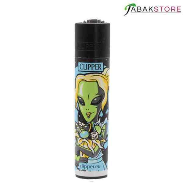 Clipper-Feuerzeug-Alien-Edition-frau-mit-blumenstrauß