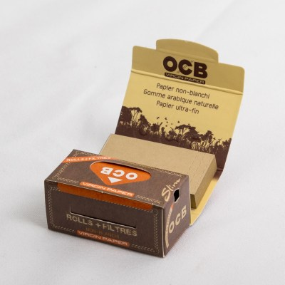 OCB-Slim-Rolls- virgin mit tips Ungebleicht Verpackung geöffnet