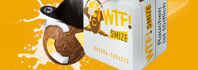 wtf shisha tabak smize mit gelben hintergrund und einer kokosnuss