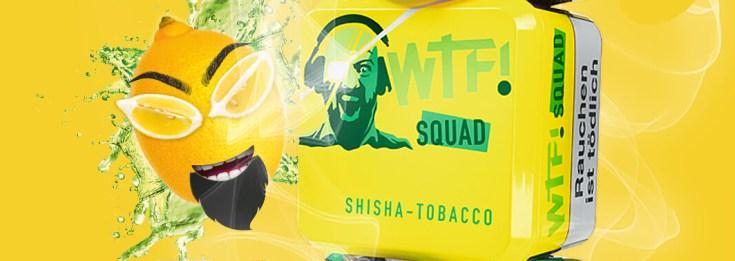 wtf shisha tabak squad mit gelben Hintergrund und einer Zitrone
