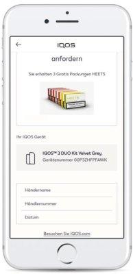 Gratis-Heets-einffordern-für-die-IQOS-Registrierung