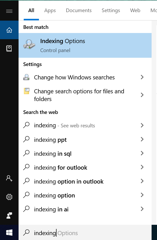 Click on 'Indexing Options'.