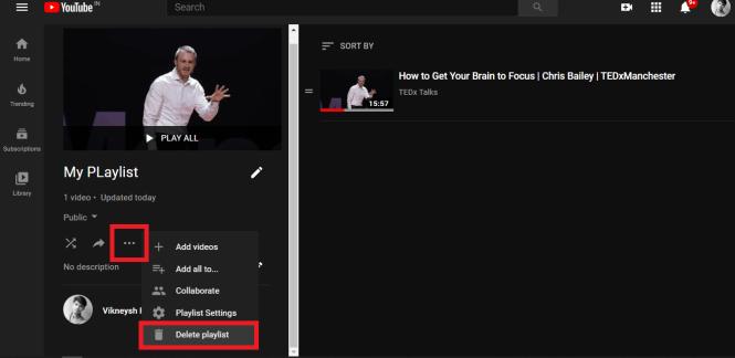 Klik pada opsi tiga titik dan kemudian pilih Hapus playlist | Cara Menghapus Daftar Putar di YouTube