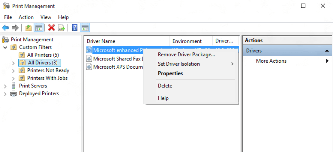 From the left pane, click All Drivers and then right-click on the printer driver and select Delete