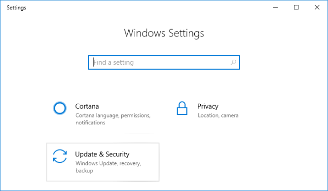Press Windows Key + I to open Settings then click on Update & security icon
