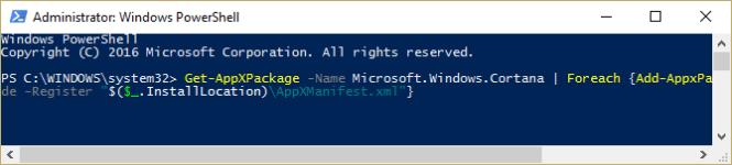 Re-register Cortana in Windows 10 using PowerShell