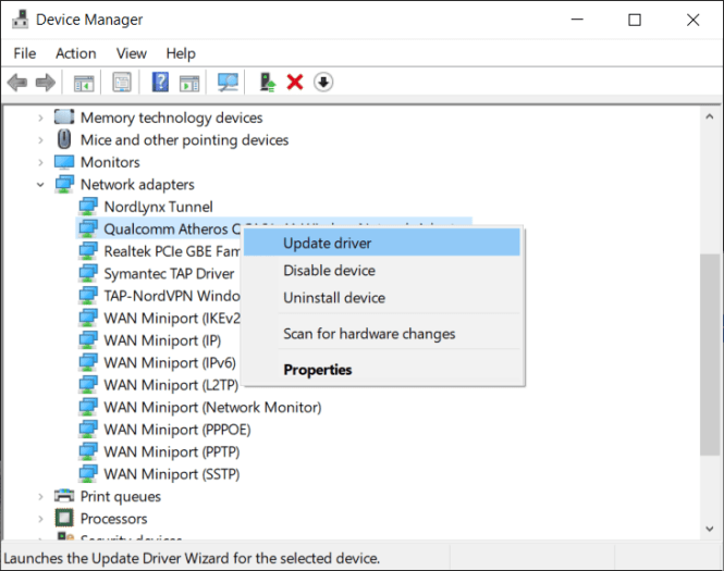 Right-click on your Network adapter and select Update driver