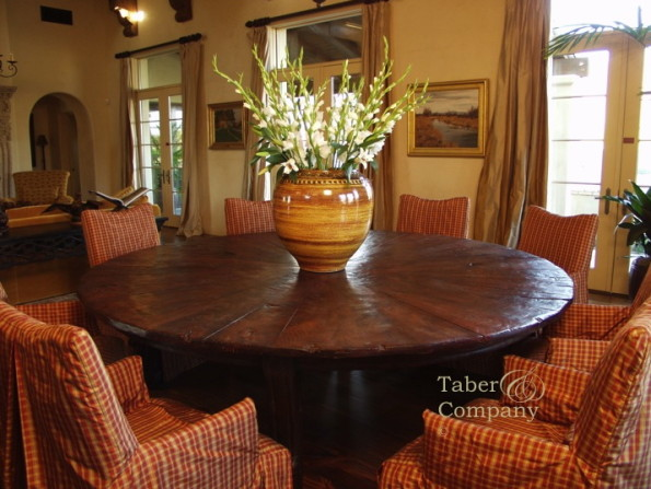 Furniture Spanish Mediterranean Style Custom Made Round Dining Table With A Citrus Top. Handcrafted by Taber & Co.