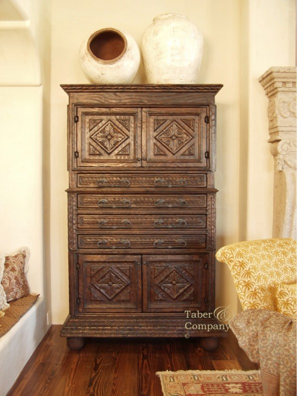 Mediterranean Style Furniture, carved armoire from Taber & Company