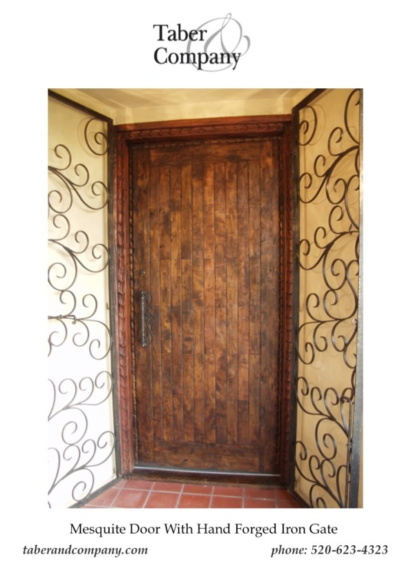 Taber & Company Forged Iron Door Designed With A Solid Mesquite Entry Door