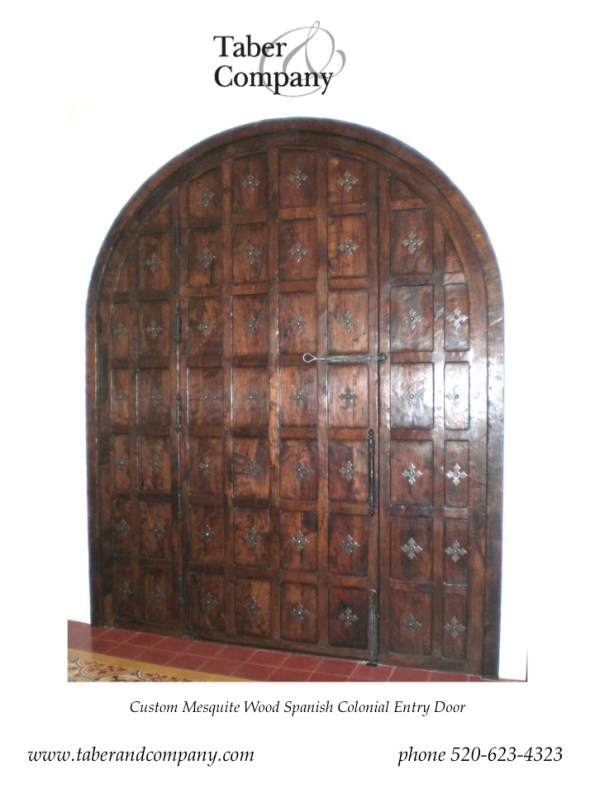 Custom Mesquite Entry Door For A Spanish Colonial Estate from Taber & Company
