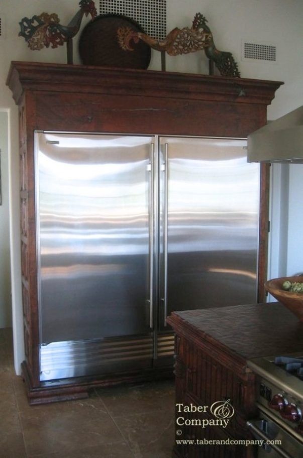handcrafted custom kitchen islands Sub Zero refrigerator integrated wood and stainless
