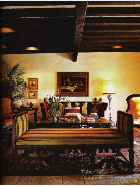 "Spanish Colonial Style Furniture in this living room featured in Phoenix Home & Gardens ""Mexican Design and Architecture"" issue. Features furnishings crafted by the homeowners' Taber & Company. The heavily beamed were hand textured, stained and waxed by their craftsman."