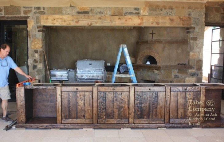 'Rustic Mediterranean style kitchen island cabinetry'