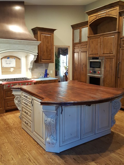 wood countertop, kitchen island, blue kitchen, painted cabinets, fresh kitchen, hardwood countertop, santa barabra style, rustic wood countertop