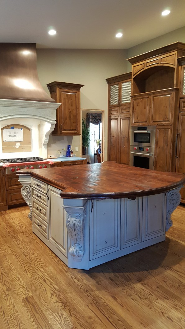 reclaimed wood kitchen island, french kitchen island, white kitchen island with wood top, modern farmhouse kitchen, mediterranean style kitchen, old world kitchen, italian tuscan kitchen, farmhouse kitchen, spanish kitchen