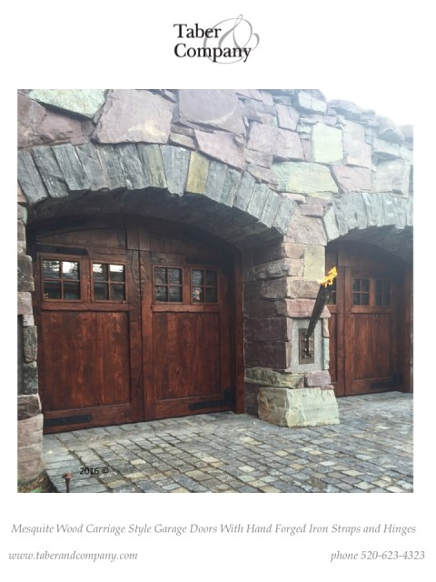 solid wood carriage style garage doors with iron. Montana custom wood carriage garage doors.