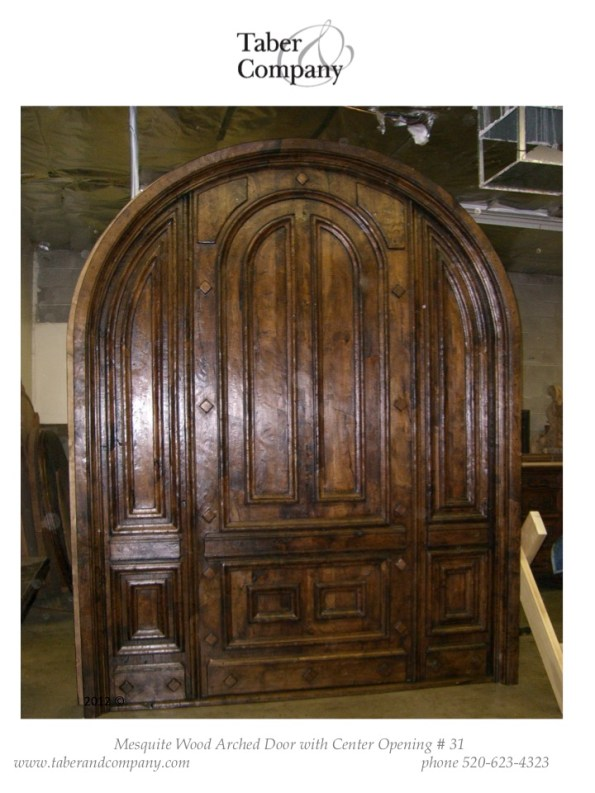 31 massive arched door mesquite wood mediterranean