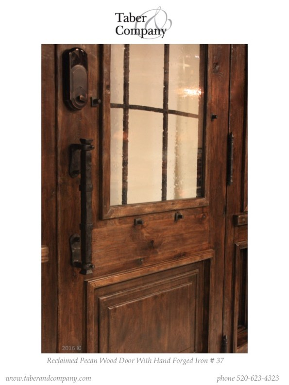 Unique wood entry door with sidelights. Arched top wooden entry door with operable sidelites for a Texas farmhouse.