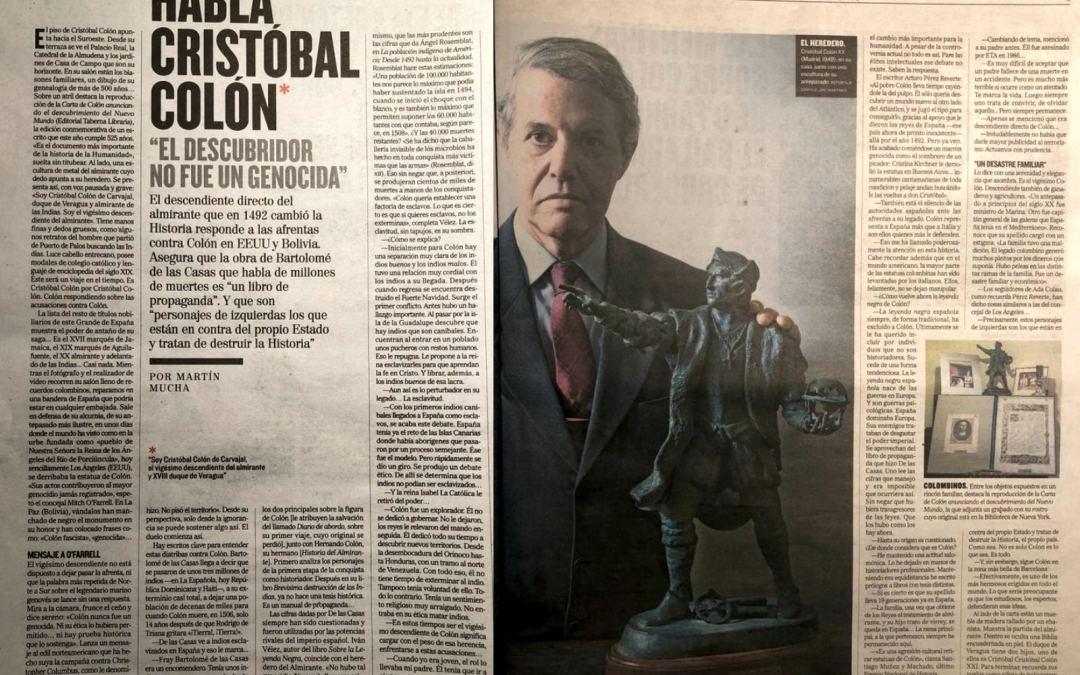 Entrevista a Cristóbal Colón, descendiente directo del Almirante, en la edición impresa del diario El Mundo.