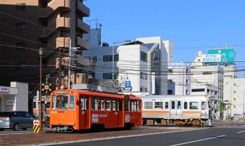 伊予鉄道大手町駅・大手町駅前停留場(ダイヤモンドクロス)