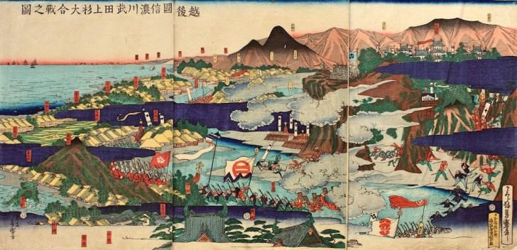 越後国信濃川武田上杉大合戦之図