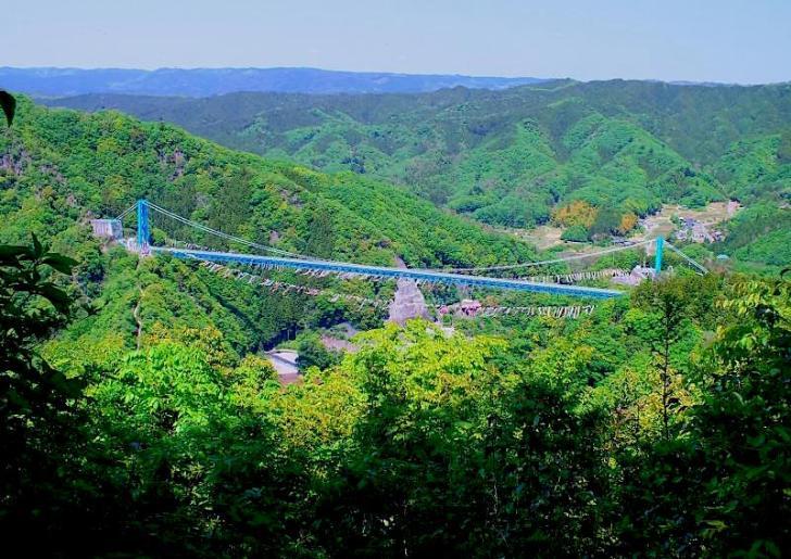 赤岩展望台から眺めた竜神吊大橋