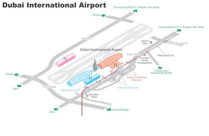 ドバイ空港地図