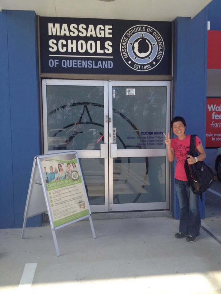 Massage Schools of Queensland, Australia通学中。留学生用に補講もあります。鍼灸師の方へ追記アリ。