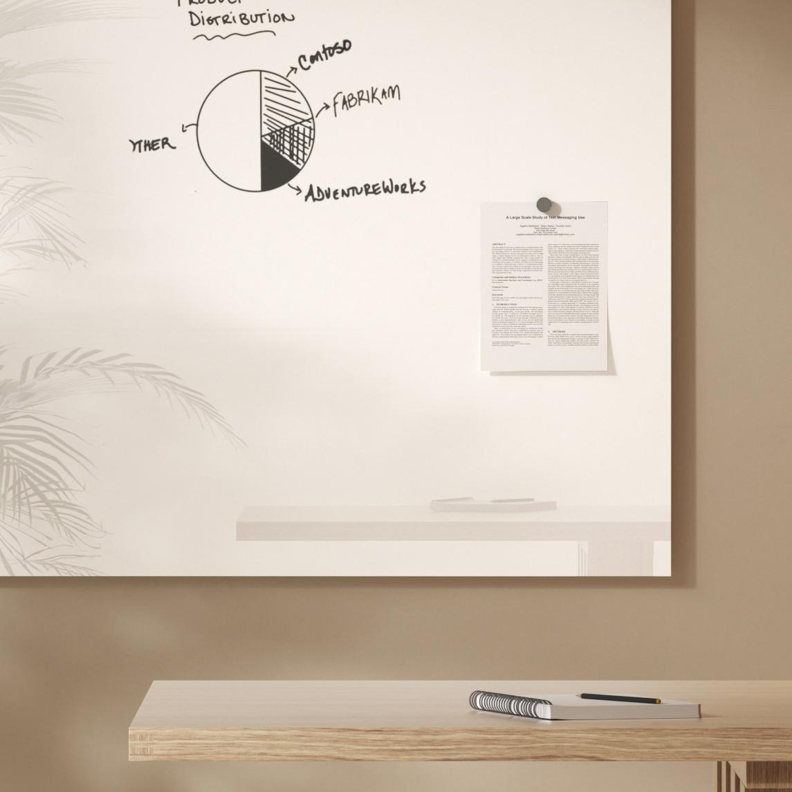 Glass whiteboard with drawing in black marker