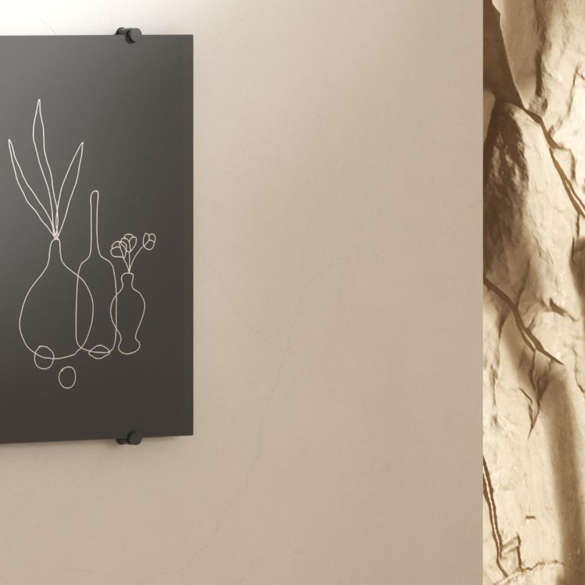 Black, personal chalkboard with white drawings of vases
