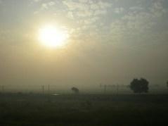 le soleil se lève sur Benares. On aura voulu y arriver! 31h de trajet…
