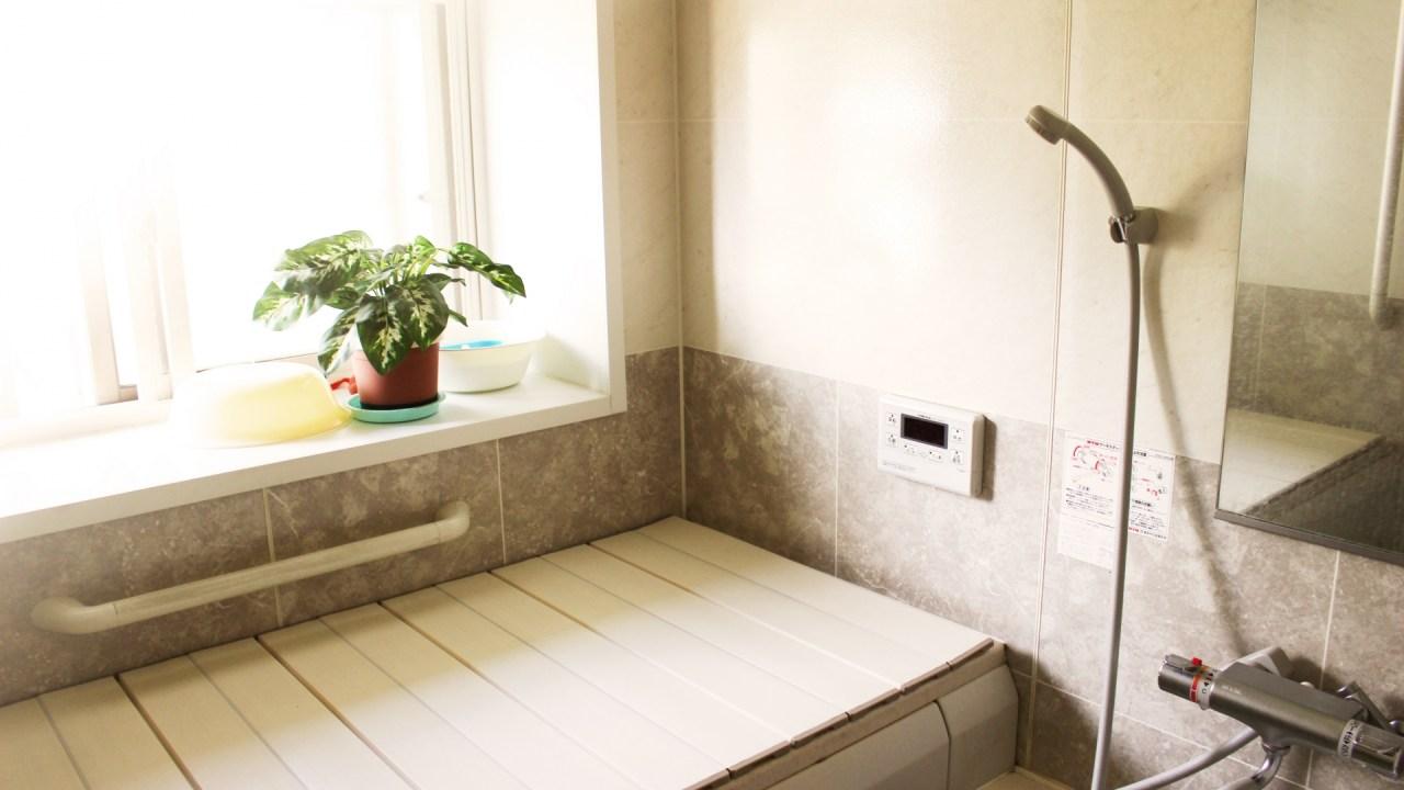 梅雨の風呂の天井を掃除