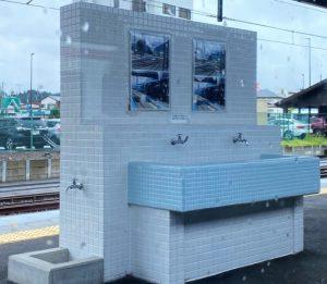 下今市駅のホーム・水飲み場