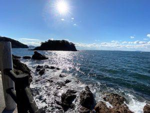 仙酔島 波 太陽 光