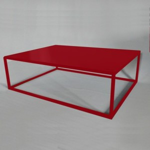 Table basse design rectangle rouge
