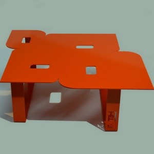 Table basse design seventies orange