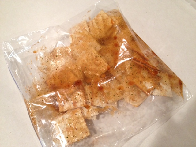 spicy saltines in zippered bag
