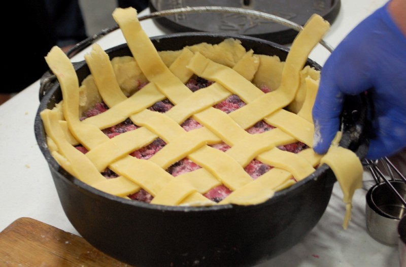 Dutch oven pie with completed lattice