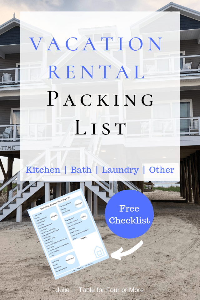 Vacation Rental Packing List Table For Four Or More