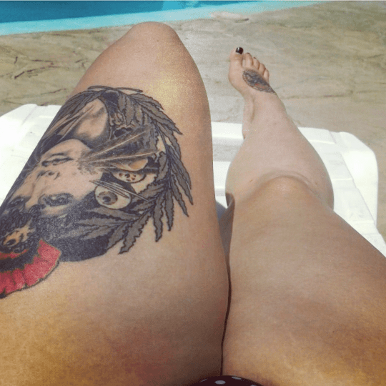 My thighs on a sunbed in Peru